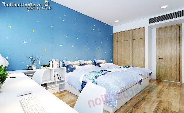 Nội thất phòng ngủ con trai chung cư đẹp Dolphin Plaza