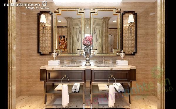 Thiết kế nhà Tắm biệt thự Vinhomes Tân Cổ Điển thuần Việt