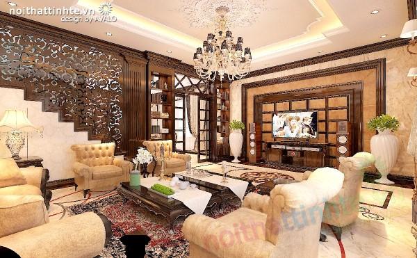 Thiết kế biệt thự Vinhomes Tân Cổ Điển thuần Việt phòng khách