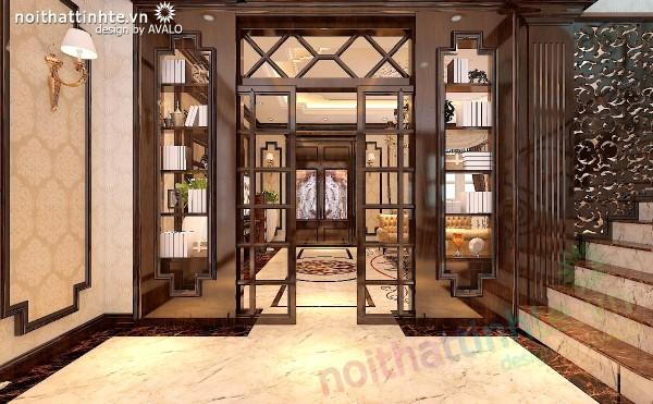 cửa lùa 2 cánh gỗ kính