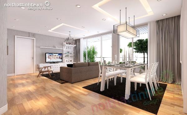 Khu vực ngồi ăn là bộ bàn ăn 6 ghế