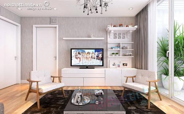 Thiết kế nội thất chung cư N04 có vách tivi hiện đại