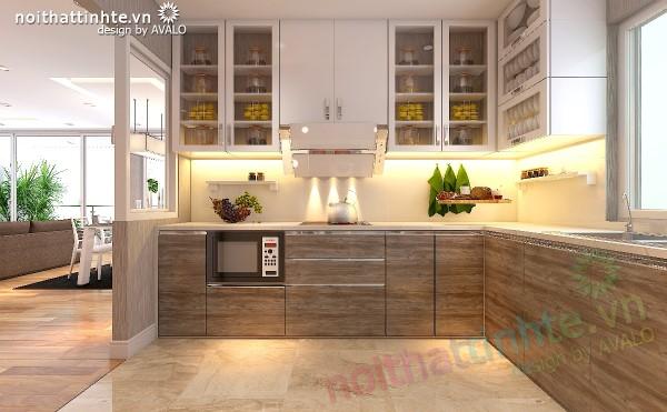 Thiết kế nội thất chung cư N04 có phòng bếp ngăn mùi