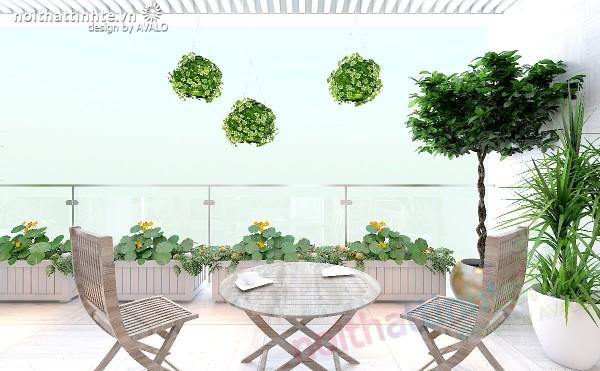 Thiết kế nội thất chung cư N04 có ban công rộng ở phòng khách