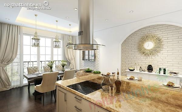 Nhà Bếp - Thiết kế Nhà Ống đẹp Tân Cổ Điển nhẹ nhàng © AVALO