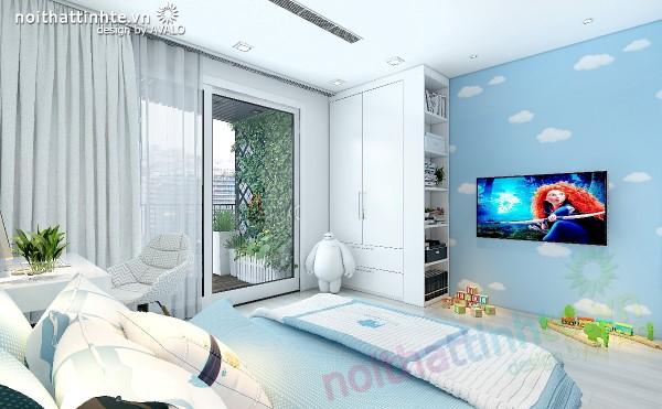 Phòng ngủ con có màu sắc tươi trẻ