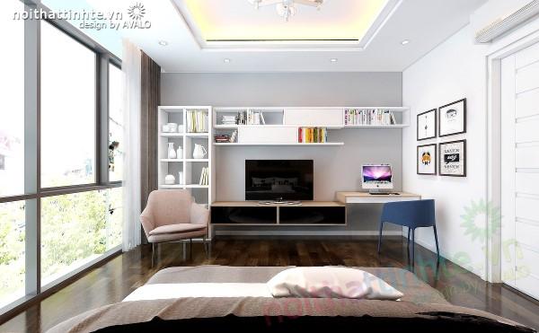 Phòng ngủ con trai nhà lô phố đẹp hiện đại