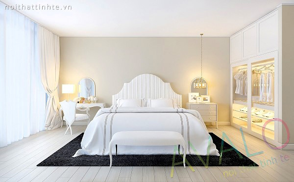 Giường ngủ đẹp với vách đầu giường uốn lượn