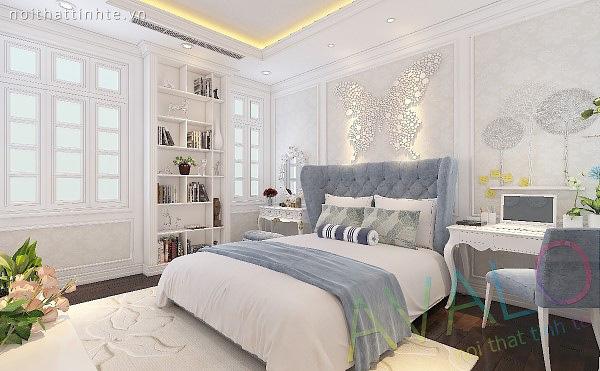 Giường ngủ đẹp cổ điển với đầu giường dạng vách sofa