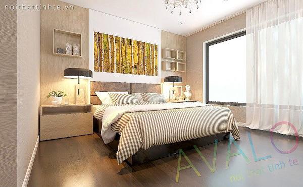 Giường ngủ đẹp Avalo với vách đầu giường gắn tường
