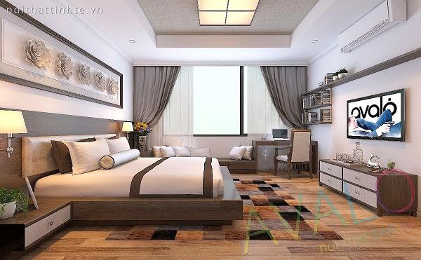 Giường ngủ đẹp Avalo tháo bỏ đệm có thể biến thành phản gỗ