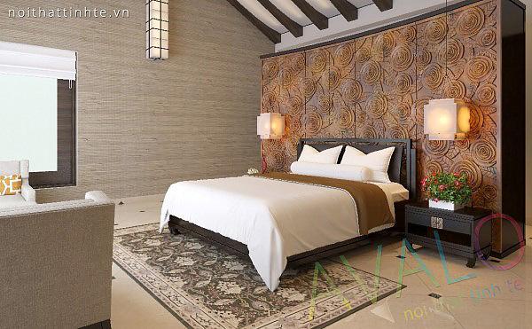 Giường ngủ gỗ kết hợp vách đầu giường như Resort