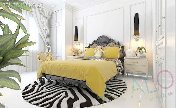 Giường ngủ đẹp Tân Cổ Điển gỗ tự nhiên