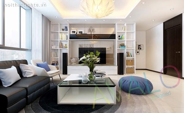 Phòng khách với kệ tivi chứa nhiều hình lập phương làm kệ để đồ