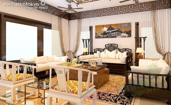 Thiết kế nội thất phòng Khách Á Đông Avalo