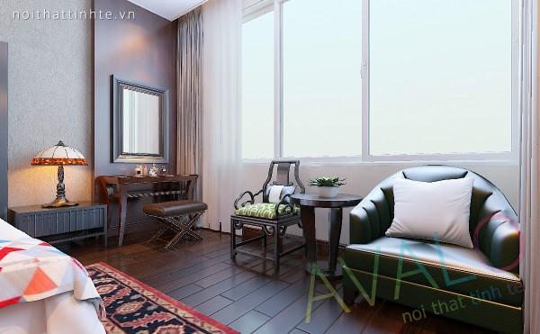 Nội thất phòng ngủ phong cách Á Đông Đương Đại tâm điểm là đôi ghế Bành Âm Dương