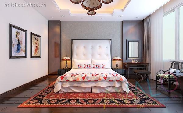 Nội thất phòng ngủ phong cách Á Đông Đương Đại có đôi ghế Bành Âm Dương