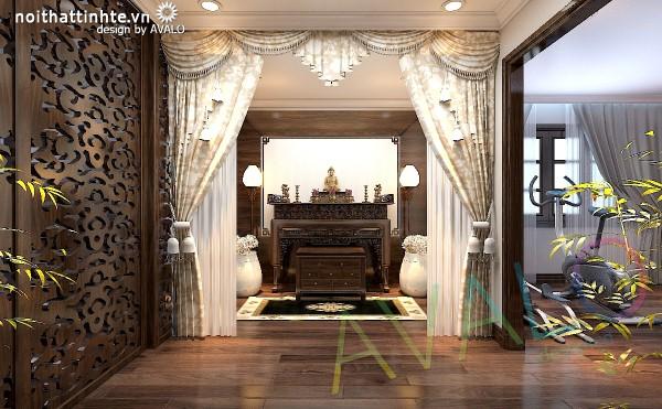 Thiết kế phòng thờ biệt thự cổ điển Á Đông trang trọng
