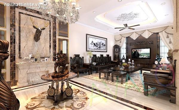 Thiết kế biệt thự cổ điển Á Đông gỗ tự nhiên