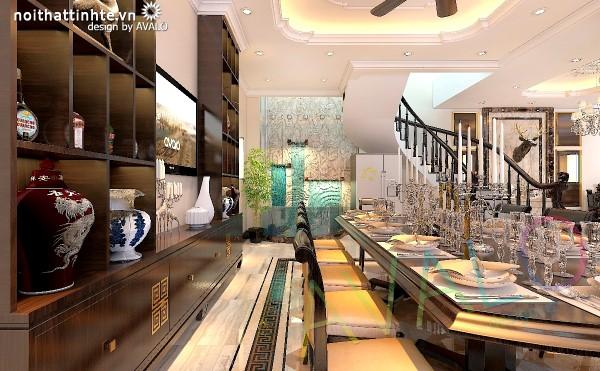 Thiết kế biệt thự cổ điển Á Đông - phòng Bếp