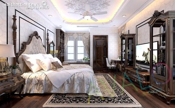 Thiết kế biệt thự cổ điển Á Đông có phòng ngủ sang trọng và rộng rãi
