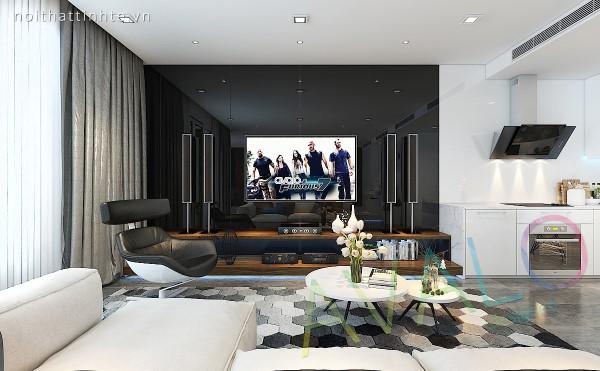 Phòng khách sử dụng các mảng màu đen - trắng đan xen nhưng mạch lạc