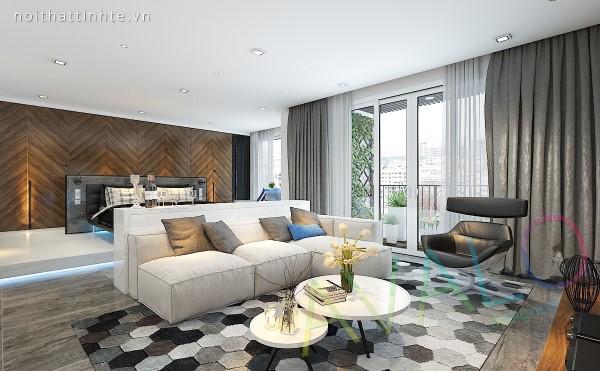 Thiết kế nội thất phòng khách căn hộ studio Vinhomes
