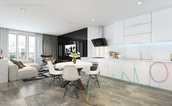 Thiết kế nội thất căn hộ studio Vinhomes tông chủ đạo là trắng