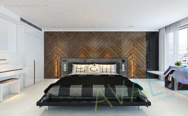 Giường ngủ thiết kế tuy đơn giản nhưng rất tinh tế