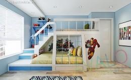 Thiết kế trang trí phòng ngủ nhỏ bằng giường tầng Sasuke