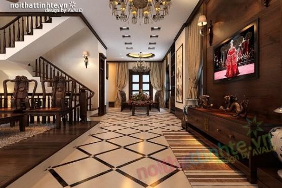Thiết kế nội thất biệt thự phong cách Á Đông ở Vincom Village Sài Đồng